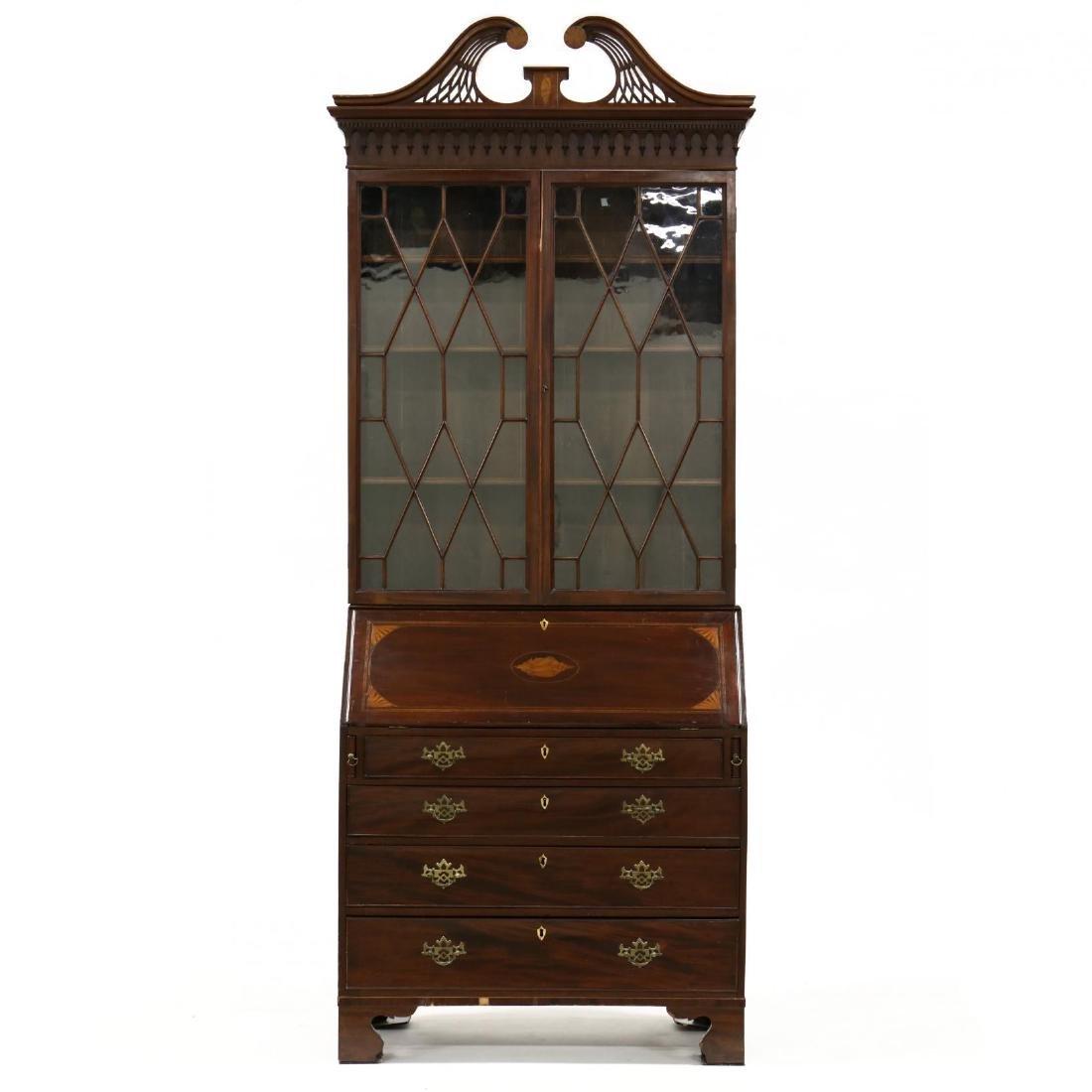 George III Inlaid Mahogany Secretary Bookcase