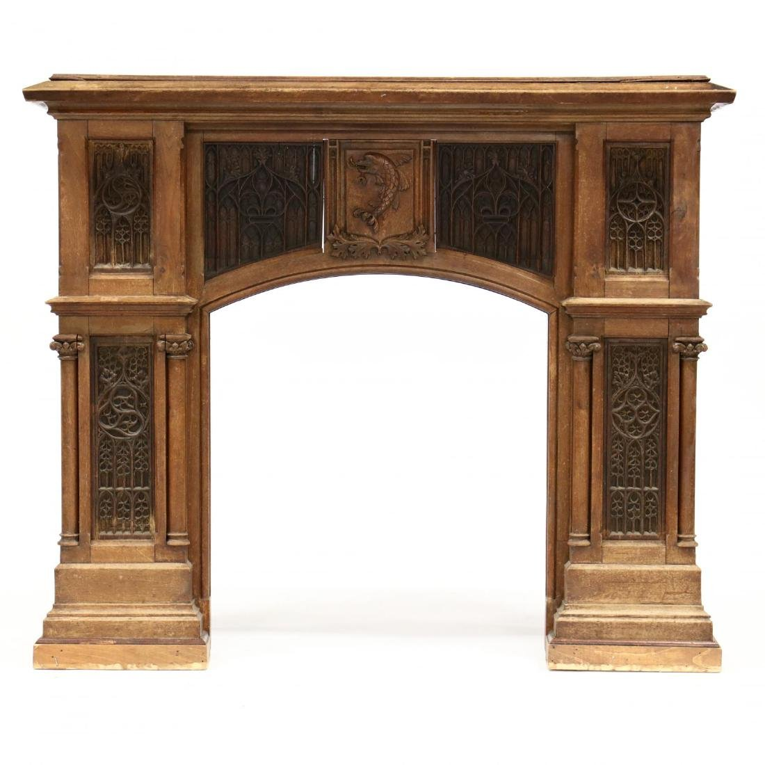 Gothic Revival Carved Oak Fireplace Mantel