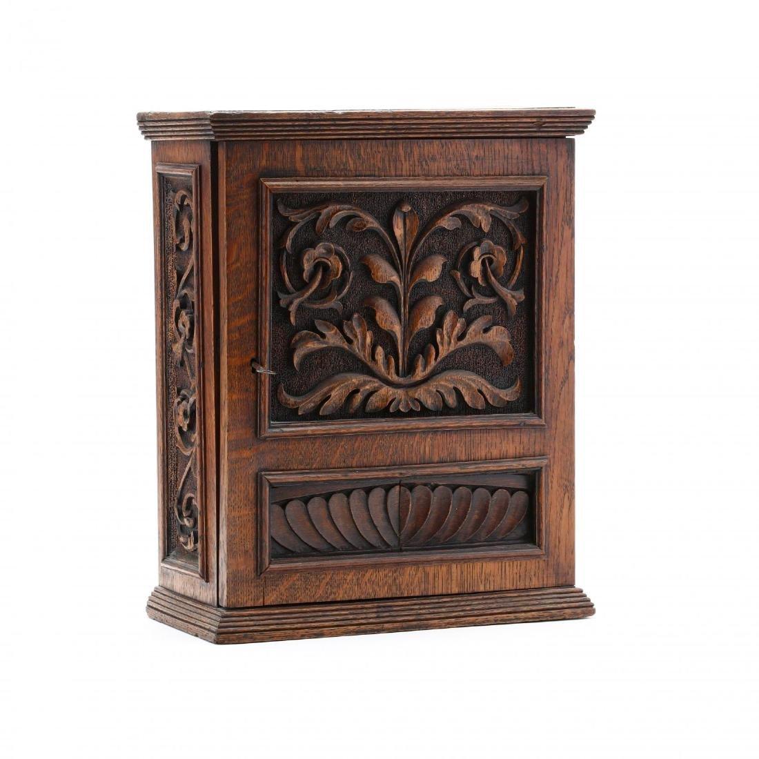 Antique Carved Oak Hanging Cabinet