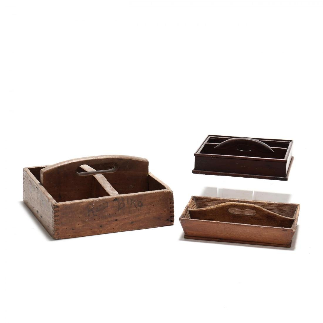Three Antique Cutlery Boxes