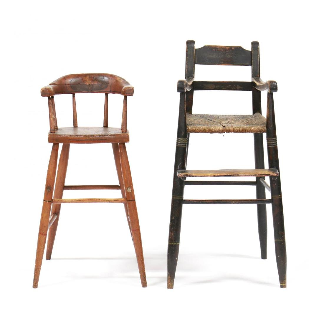 Two Antique American Child's High Chairs