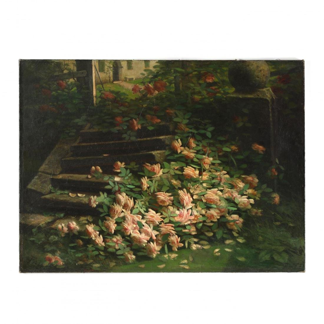 An Antique American School Painting of Roses in an
