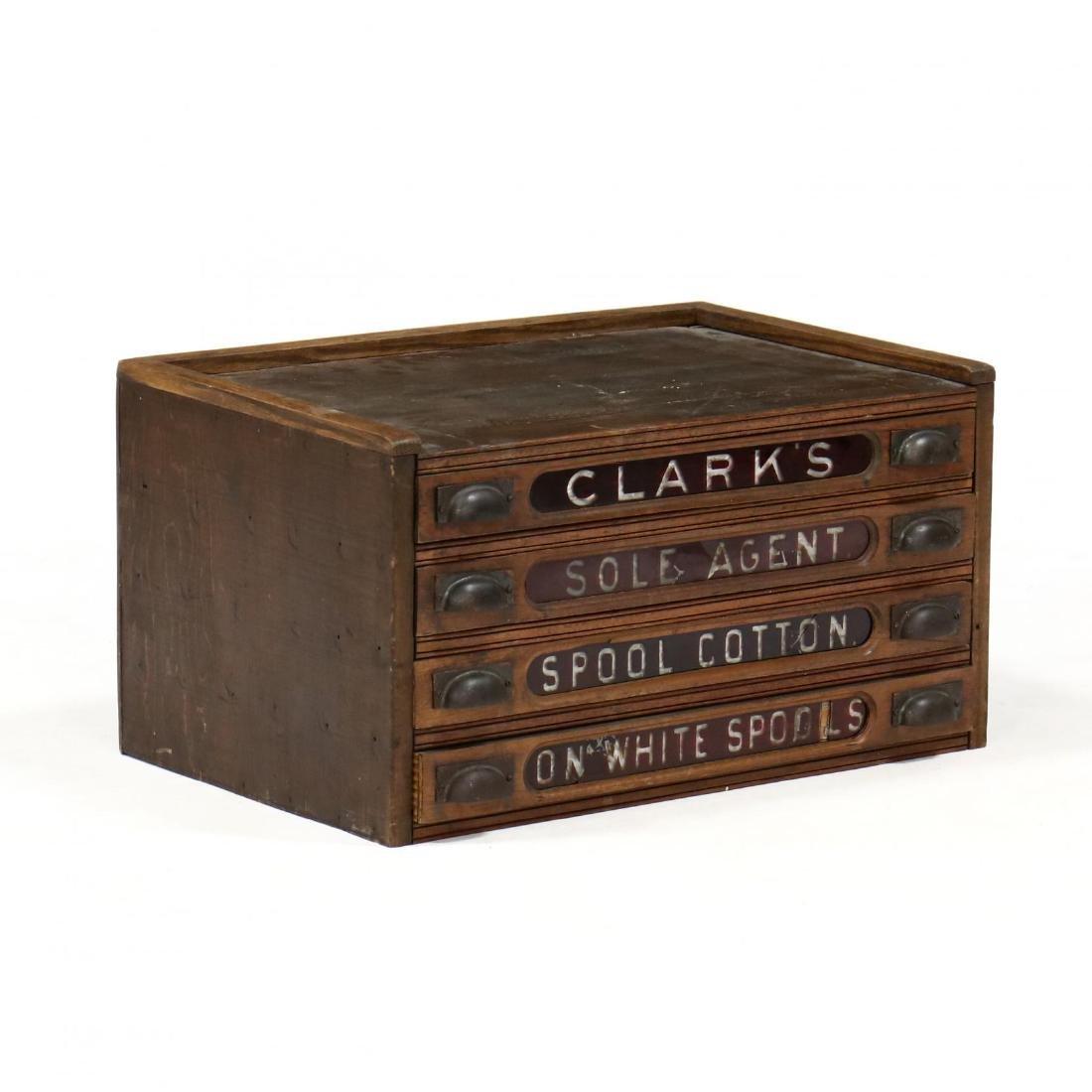 Clark's Advertising Spool Cabinet