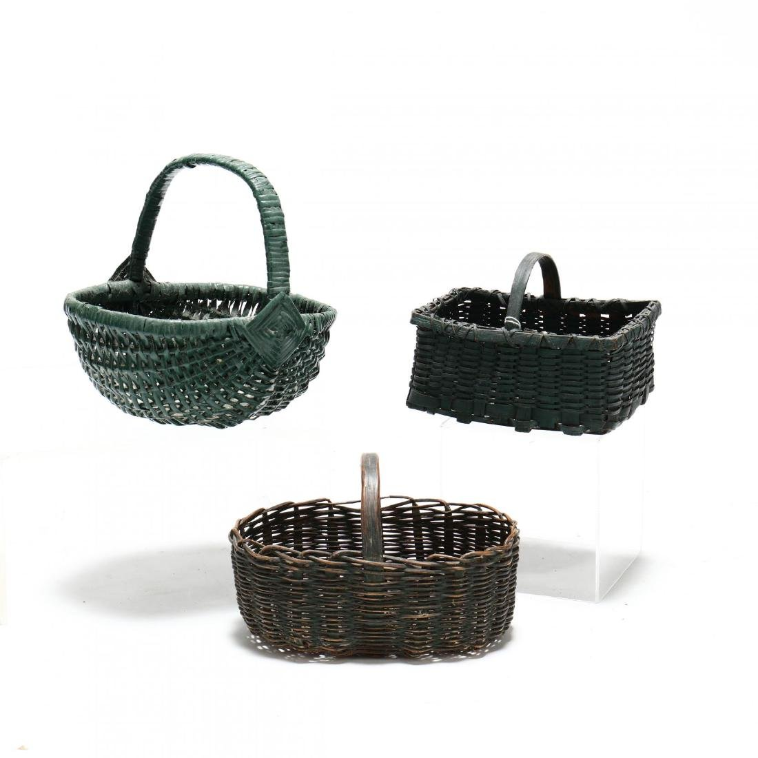 Three Green Painted Baskets