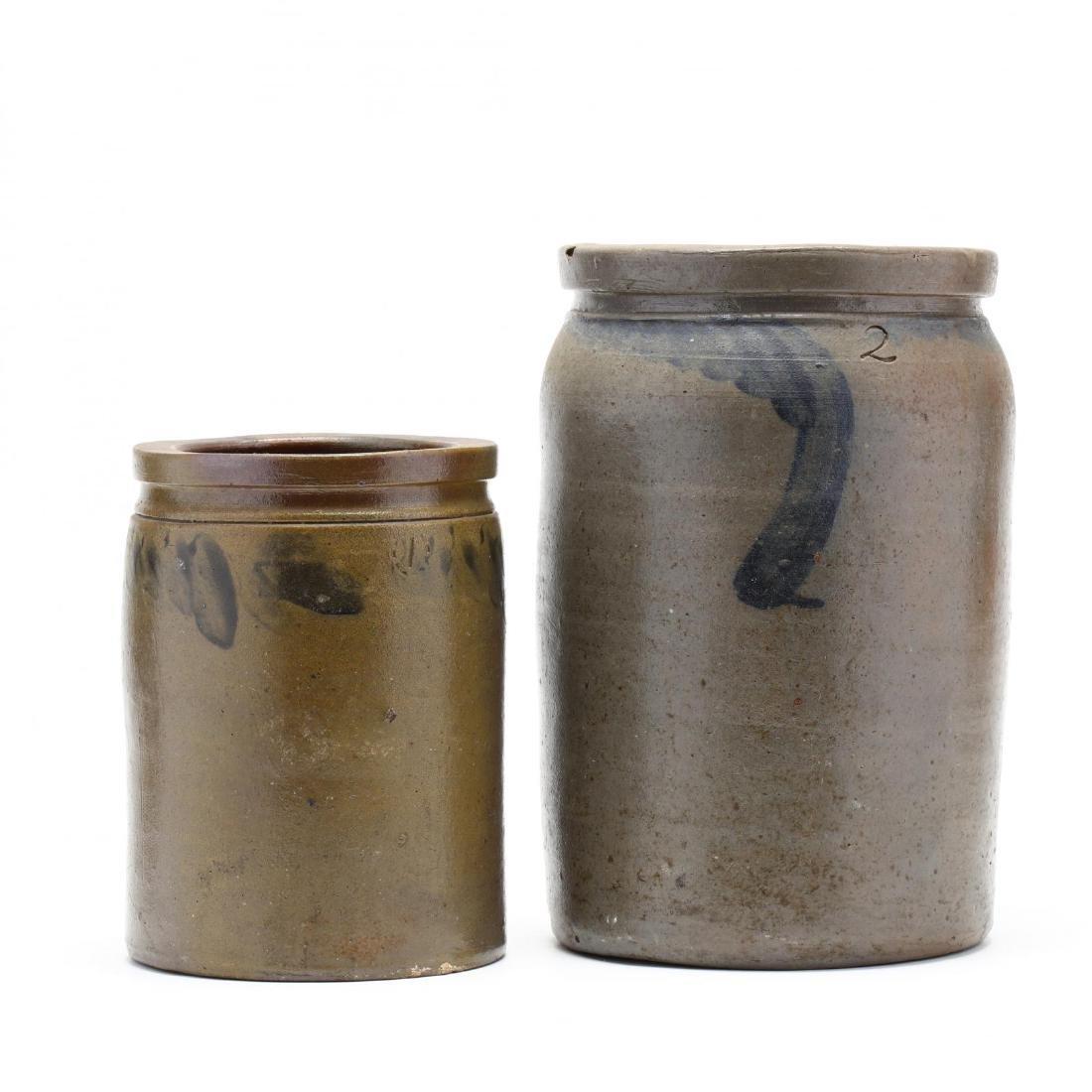 Two Salt Glazed Crocks