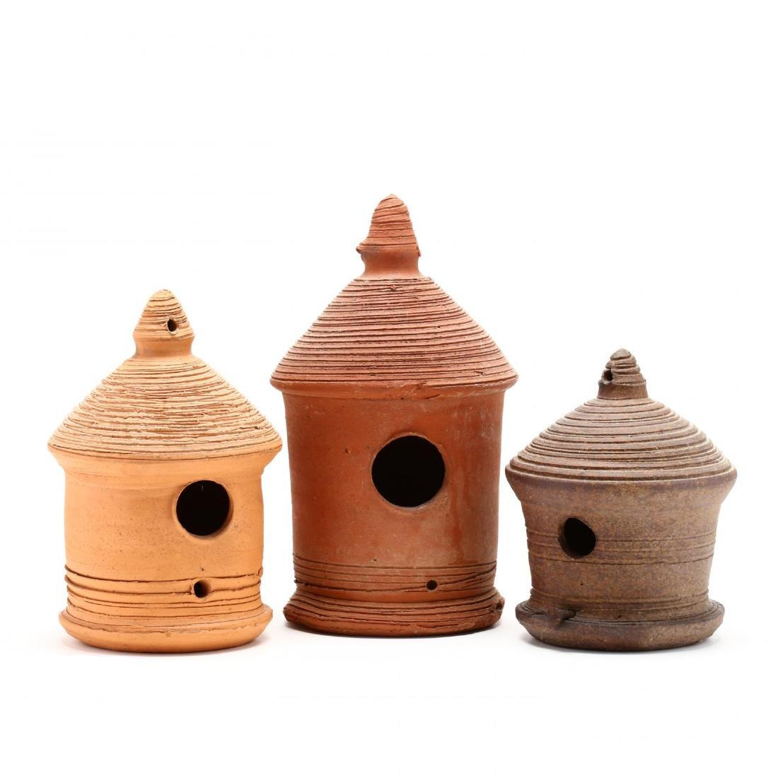 Three Pottery Folk Art Birdhouses