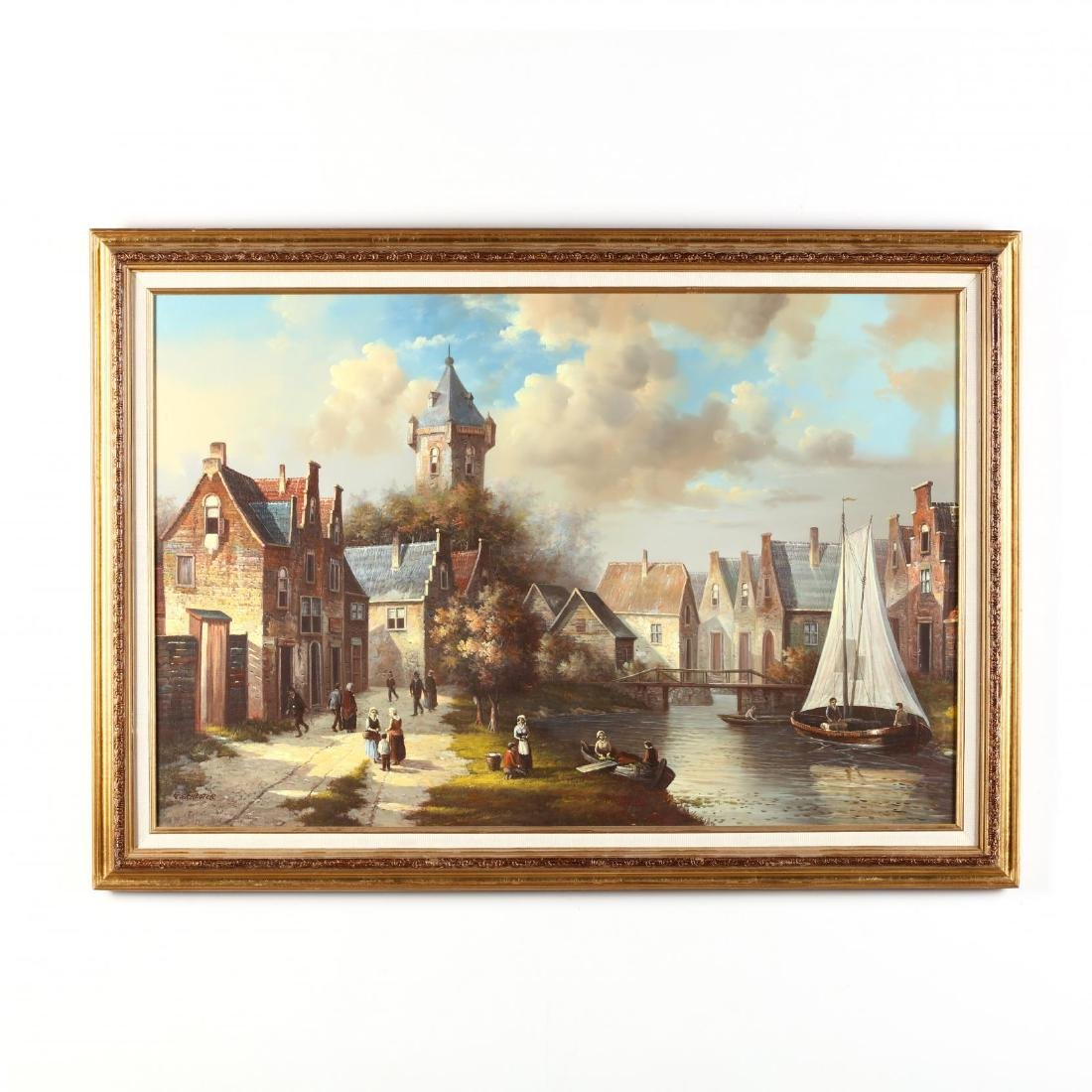 Dutch School (20th Century), Village View with Canal