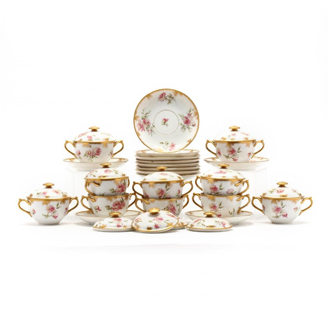 A Set of Limoges Bouillon Cups & Saucers with Covers