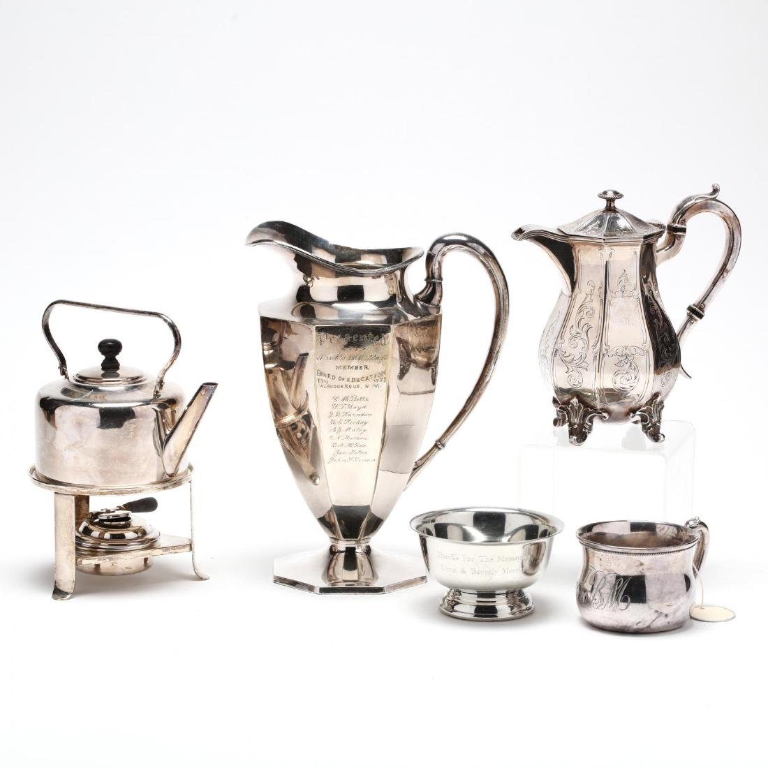 FIve Vintage Silverplate & Pewter Table Articles