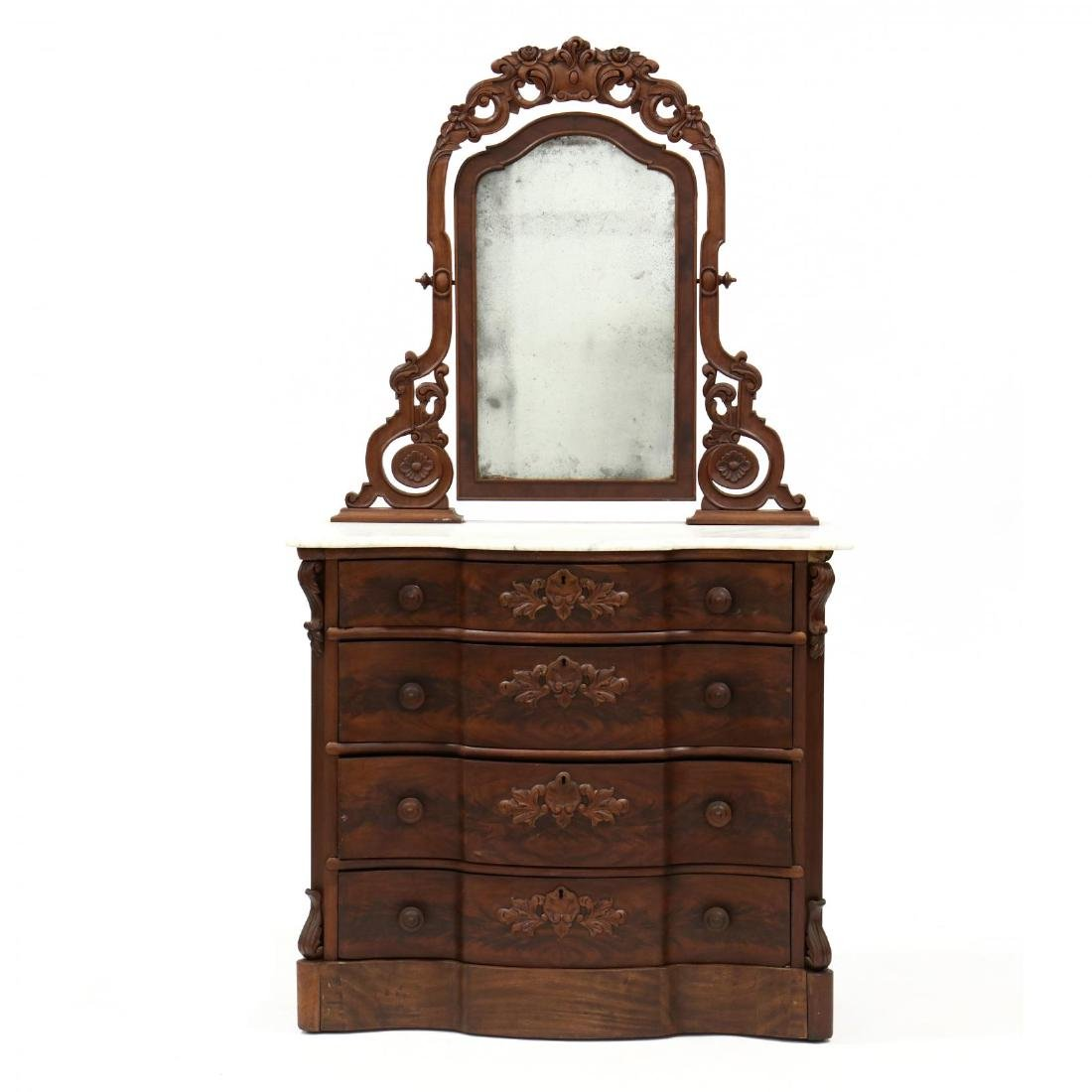 American Classical Marble Top Dresser With Mirror