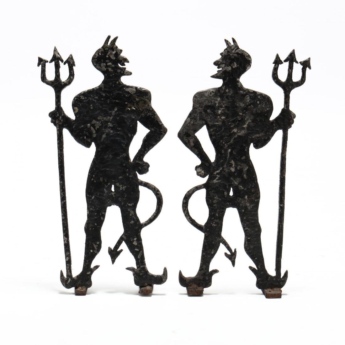 Pair of Folky Devil Form Andirons