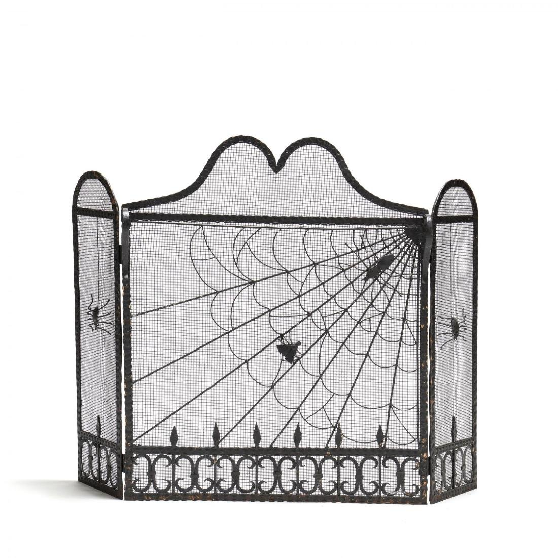 Whimsical Wrought Iron Fire Screen with Spider's Web