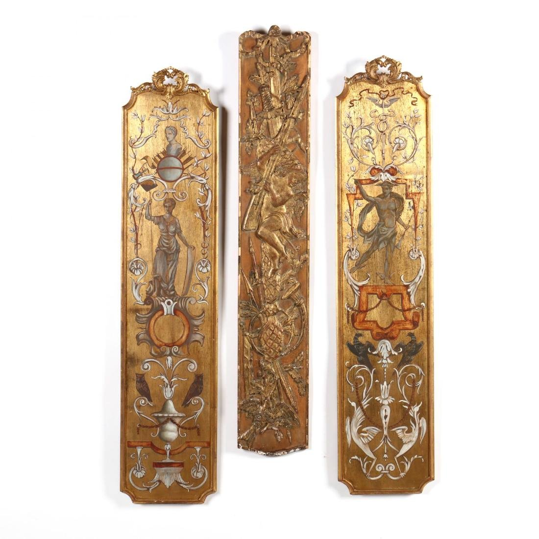 Palladia, Three Carved and Gilt Wall Panels