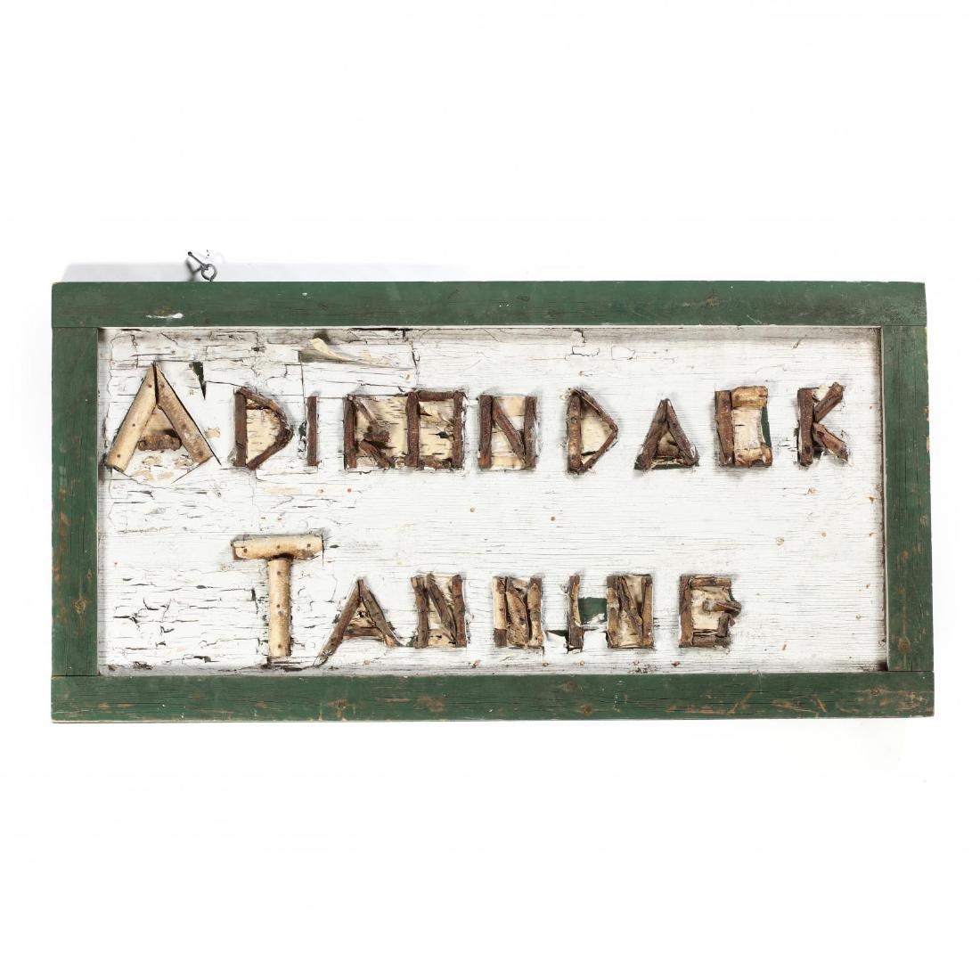 """Vintage Trade Sign, """"Adirondack Tanning"""""""