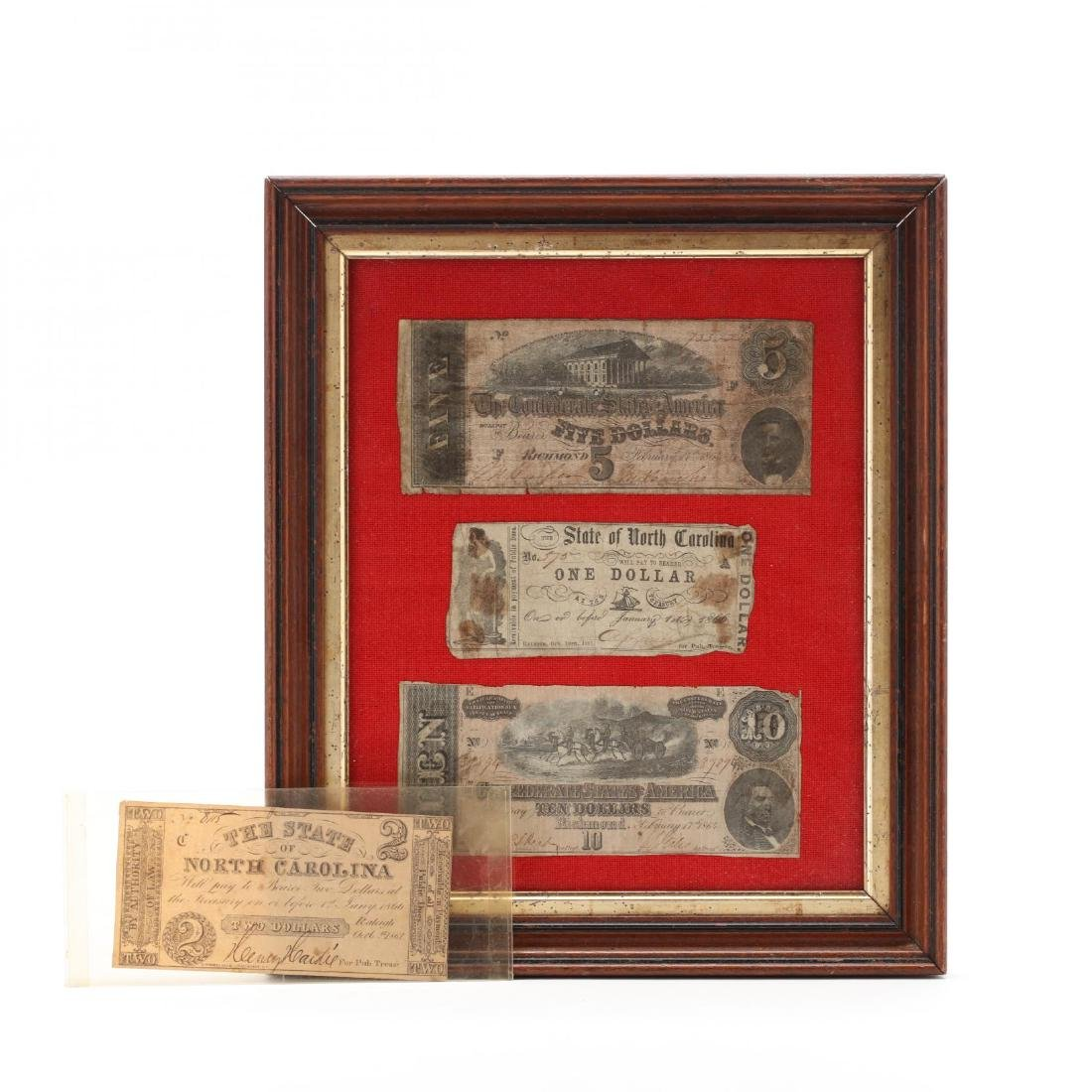Four Pieces of Civil War Currency From North Carolina
