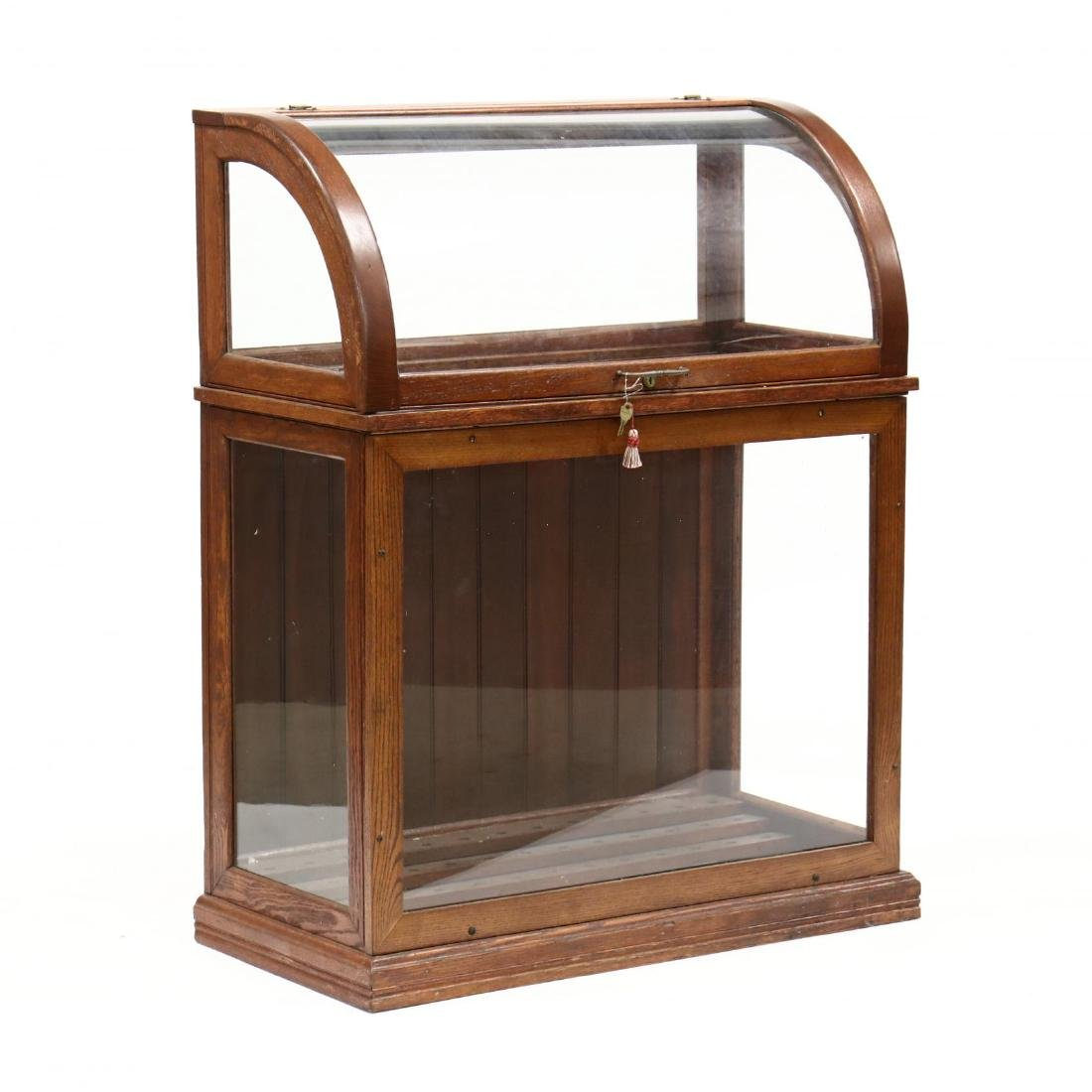 Antique Oak and Glass Walking Cane Display Case