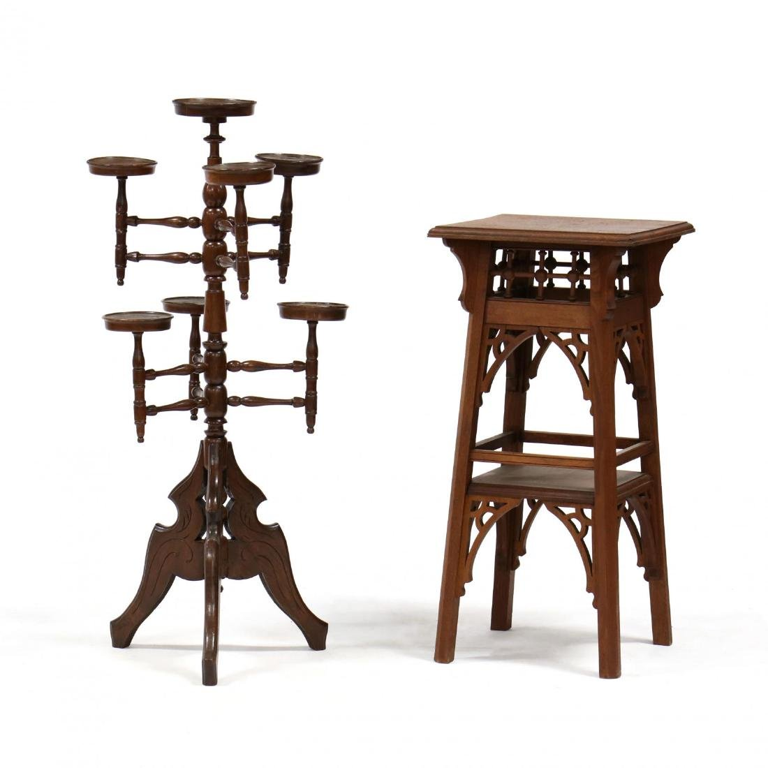 Two Victorian Walnut Stands
