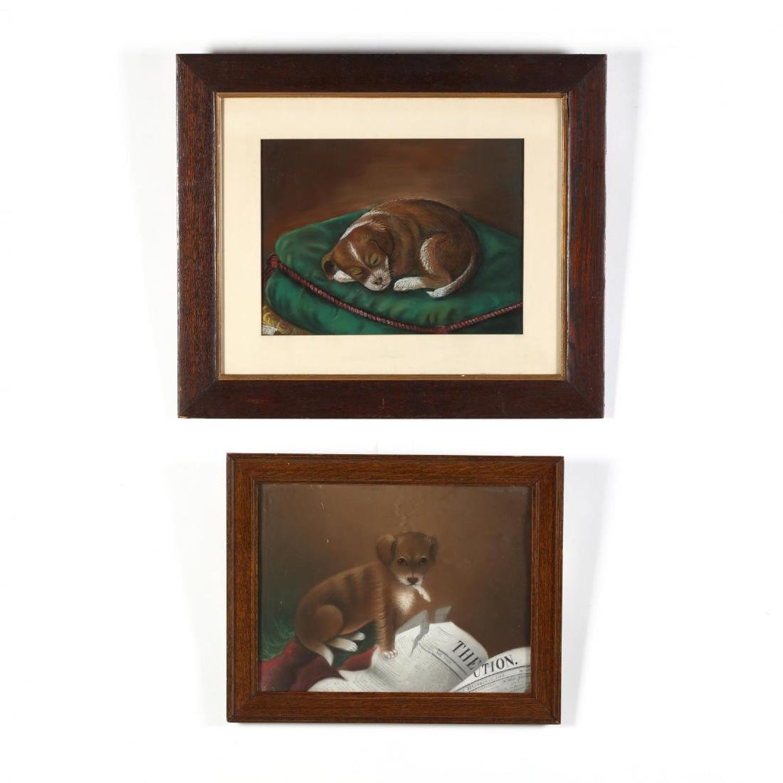Two Antique Folk Art Drawings of a Puppy