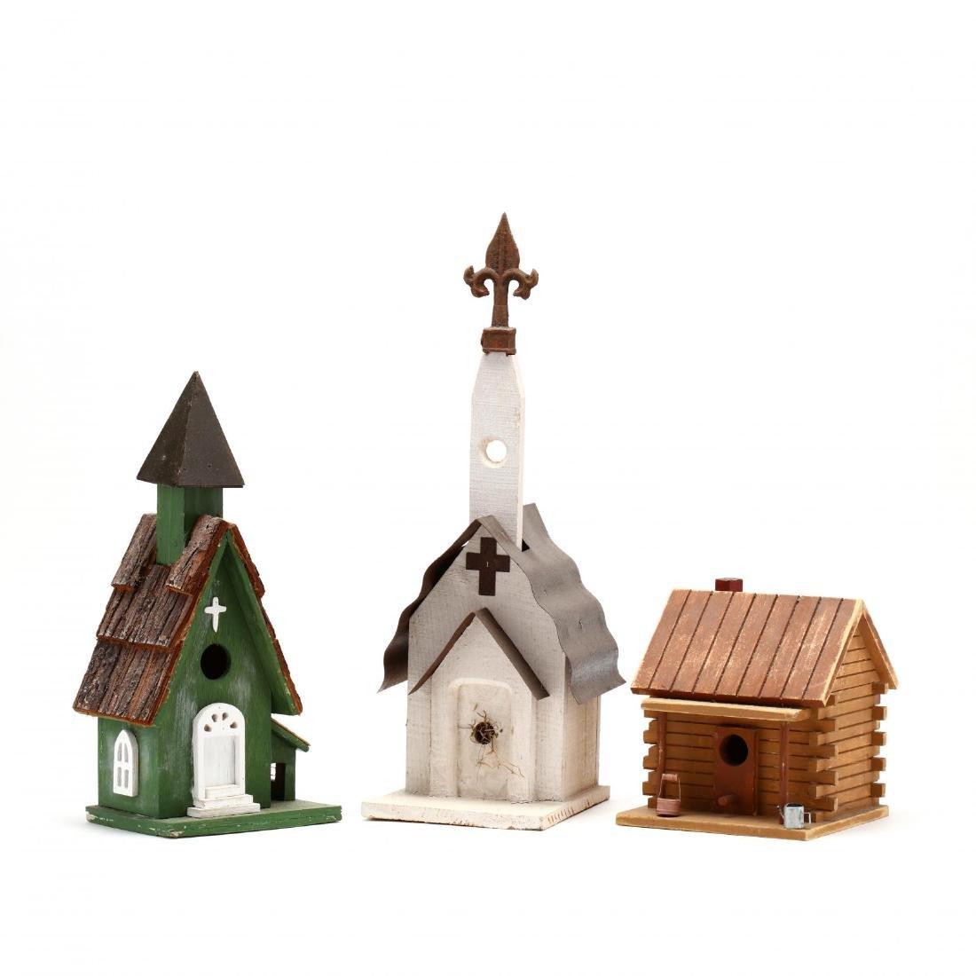 Three Folk Art Birdhouses