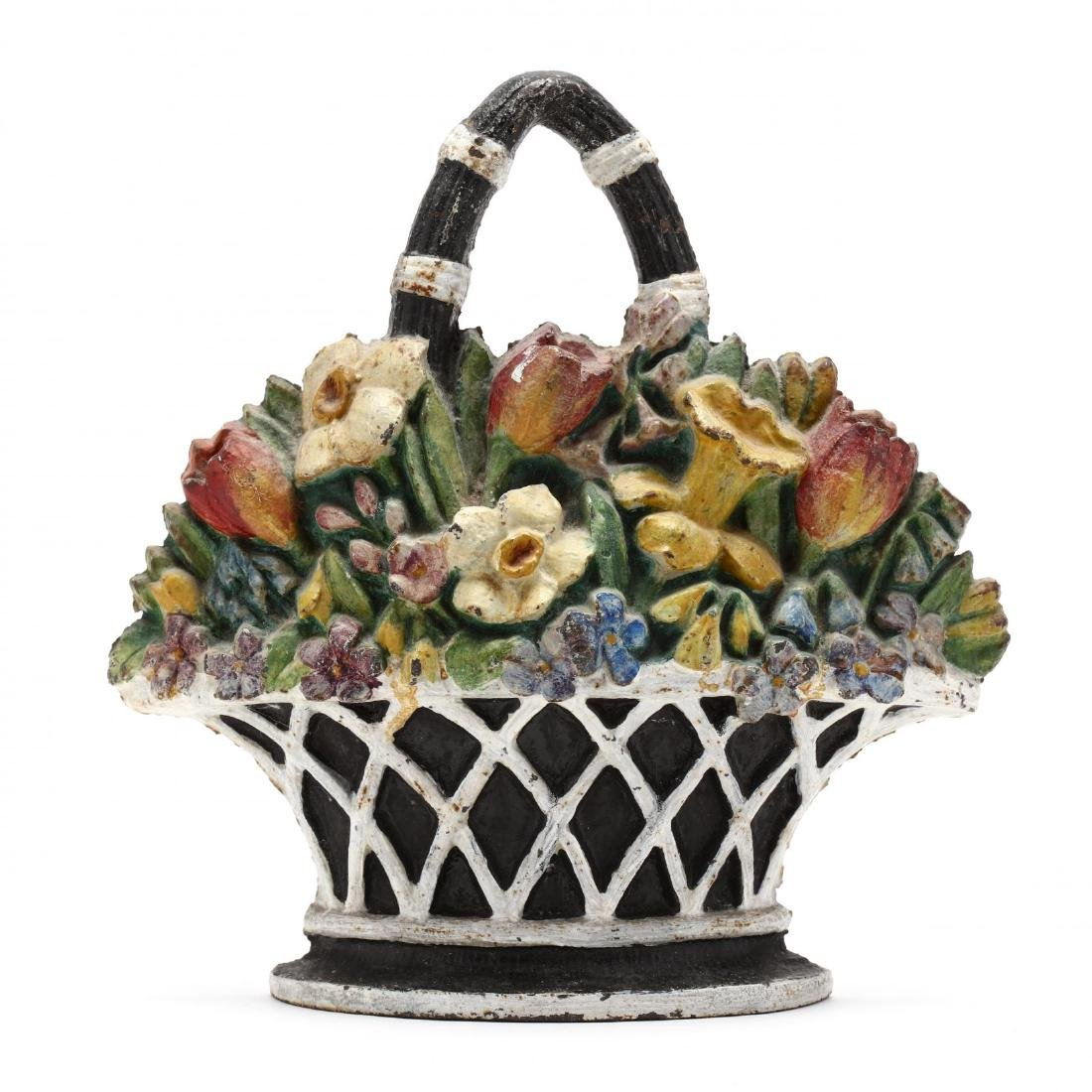 A Large Vintage Cast Iron Floral Doorstop