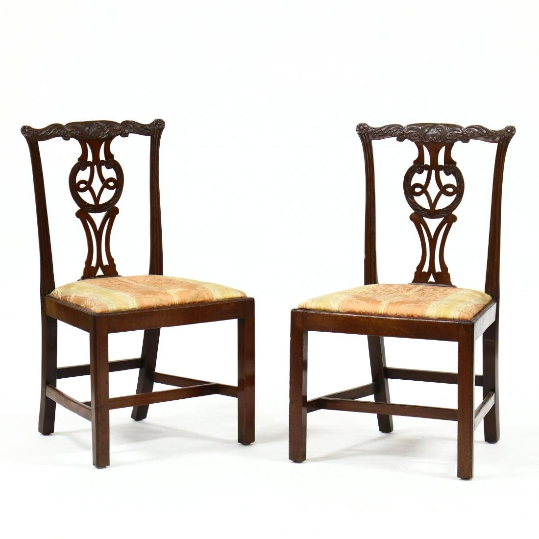 Pair of English Chippendale Carved Mahogany Side Chairs