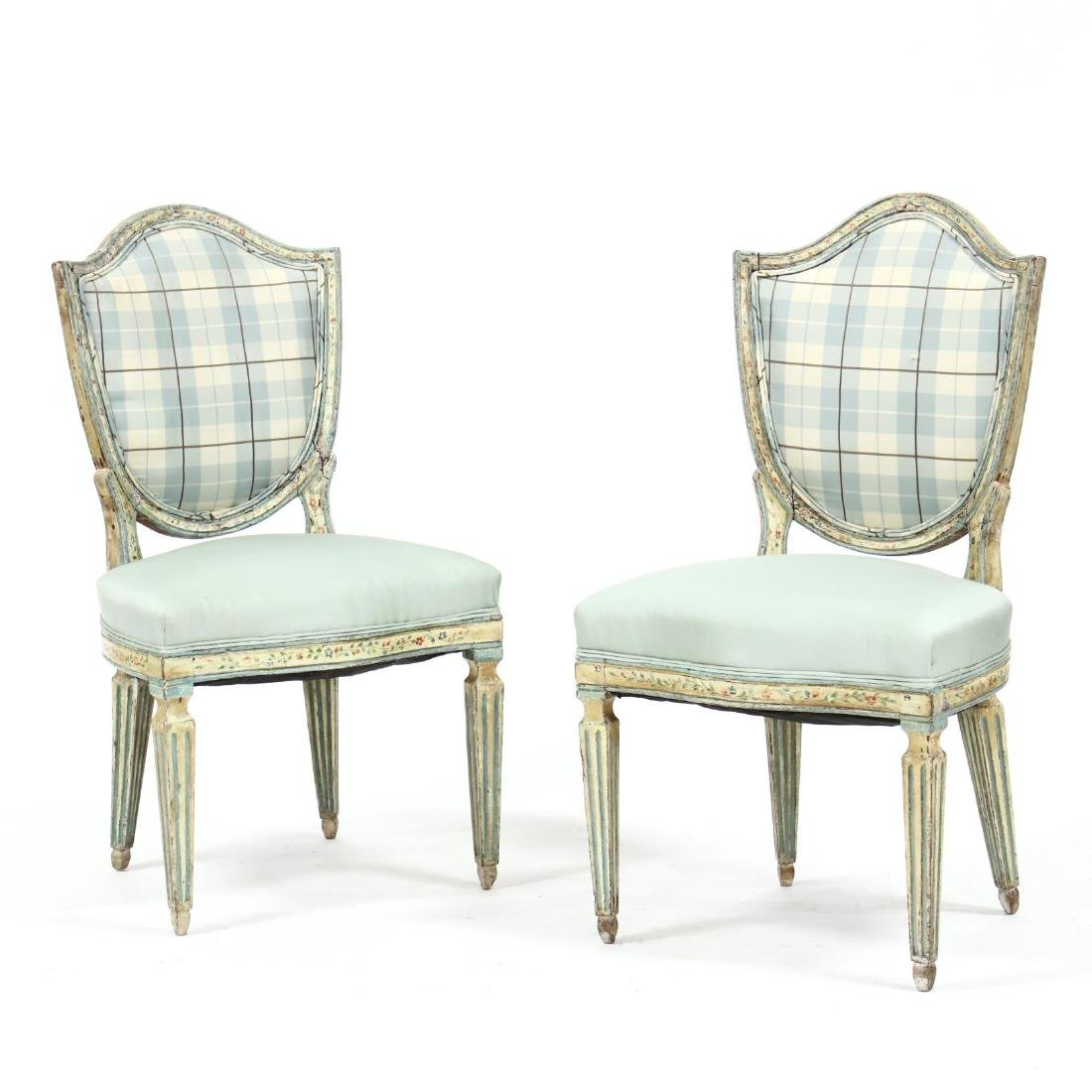 Pair of Antique Italian Painted Side Chairs