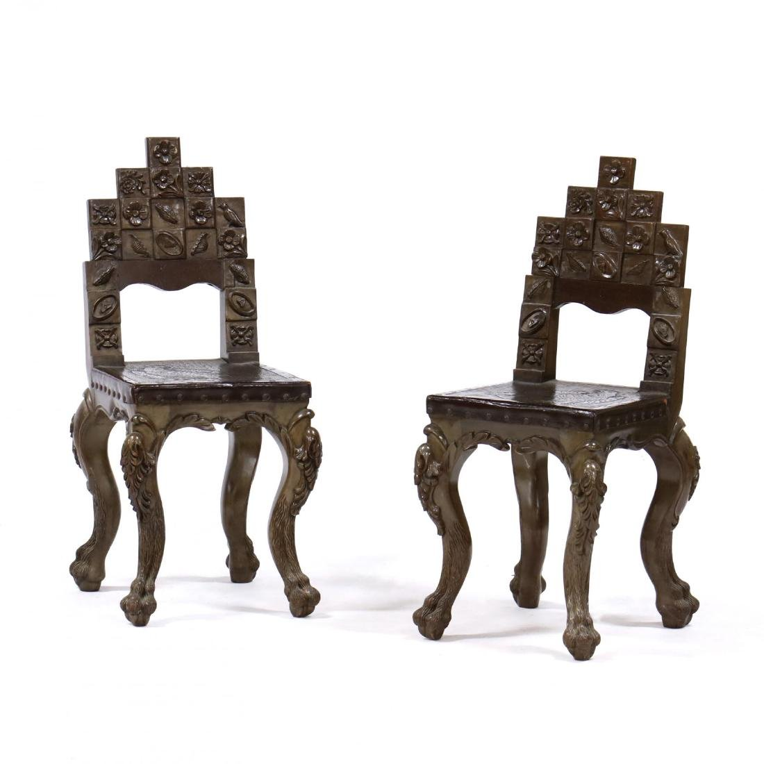 Pair of Colombian Carved Mahogany Side Chairs