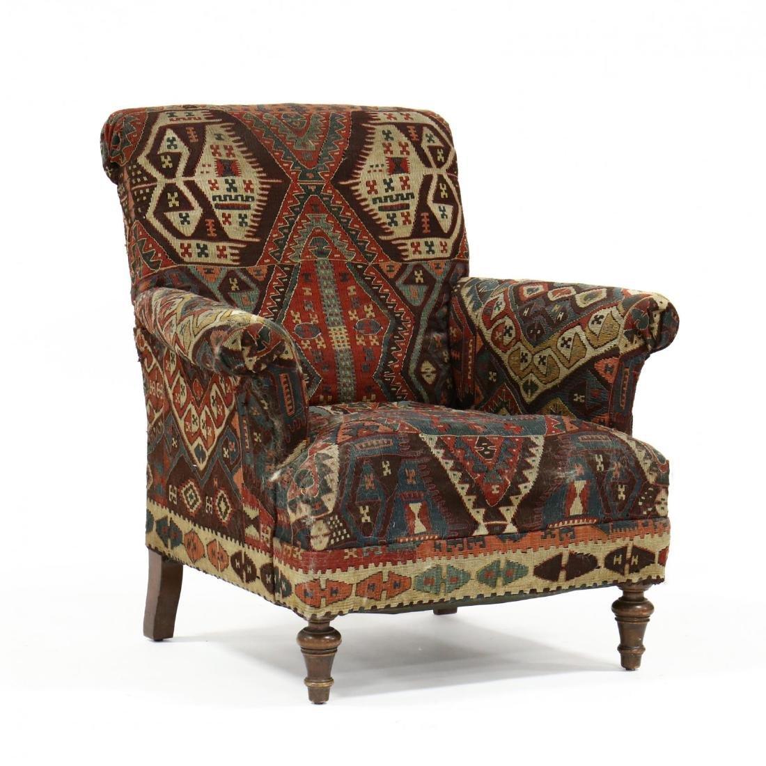 Vintage Kilim Upholstered Club Chair
