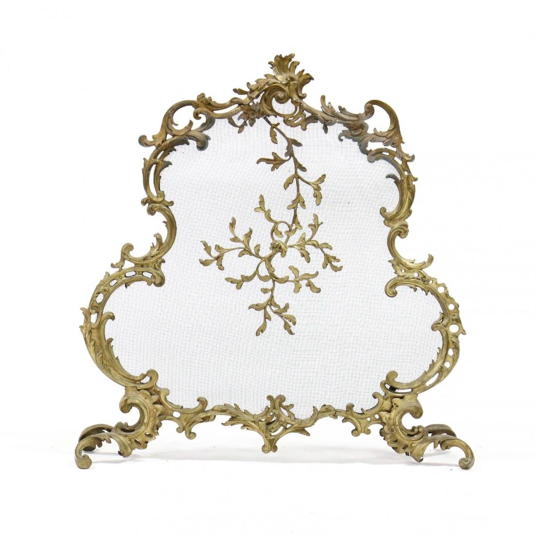 French Rococo Style Gilt Brass Fire Screen