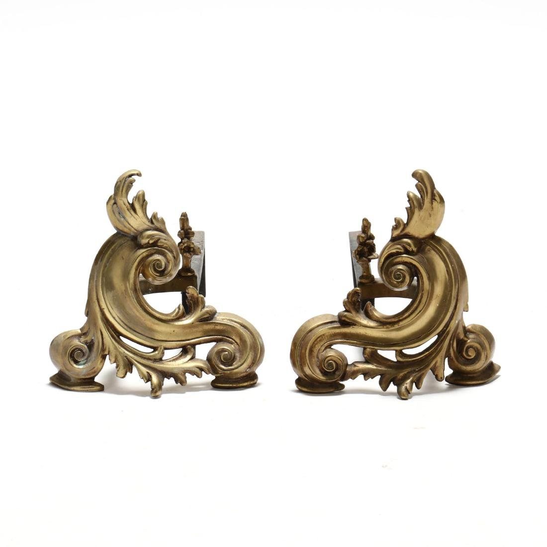 Pair of French Rococo Style Brass Chenets