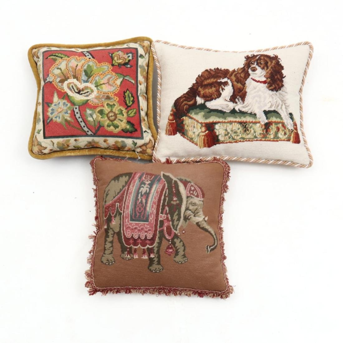 Three Vintage Needlework Pillows