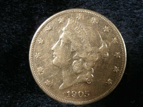 1004: 1905-S $20 Gold Liberty Head Double Eagle,