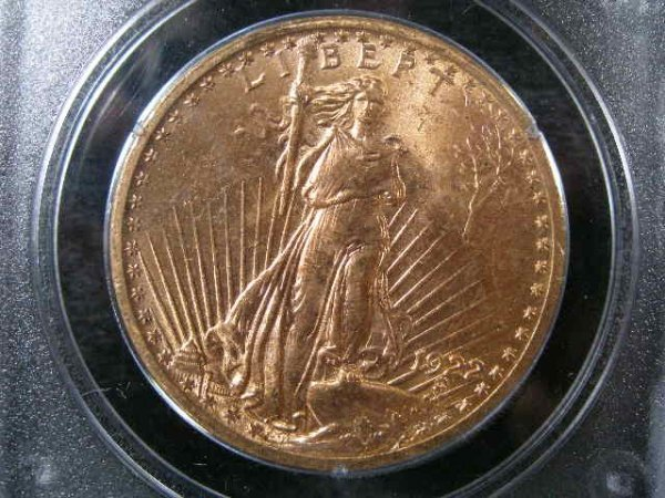 1005: 1922 PCGS MS 62 $20 Gold St. Gaudens Double Eagle