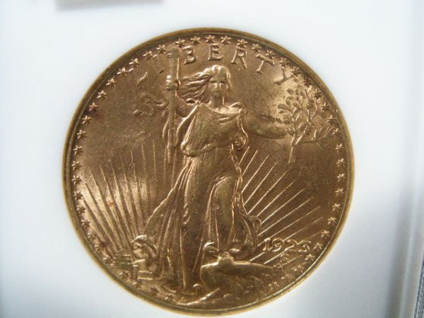 1008: 1923 NGC MS 62 $20 Gold St. Gaudens Double Eagle,