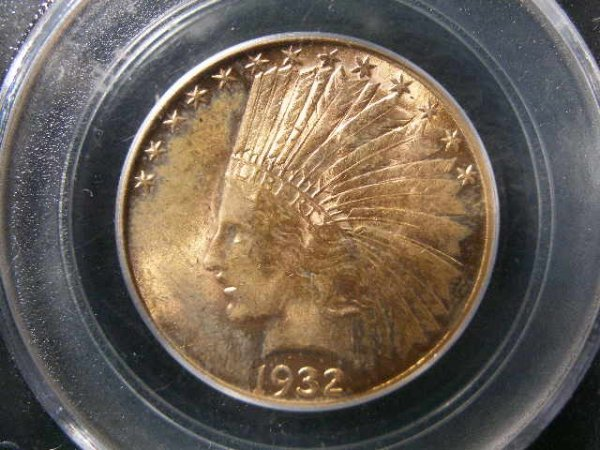 1012: 1932 PCGS 62 $10 Gold Indian Head Eagle,