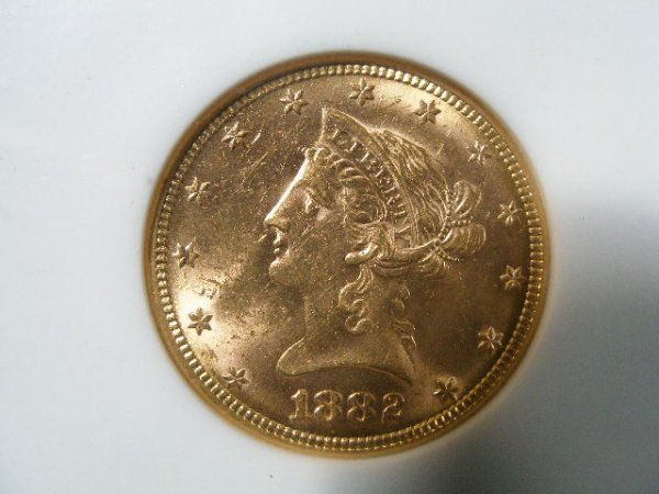 1013: 1882 NGC MS 61 $10 Gold Liberty Head Eagle,
