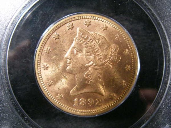 1014: 1892 PCGS MS 61 $10 Gold Liberty Head Eagle,