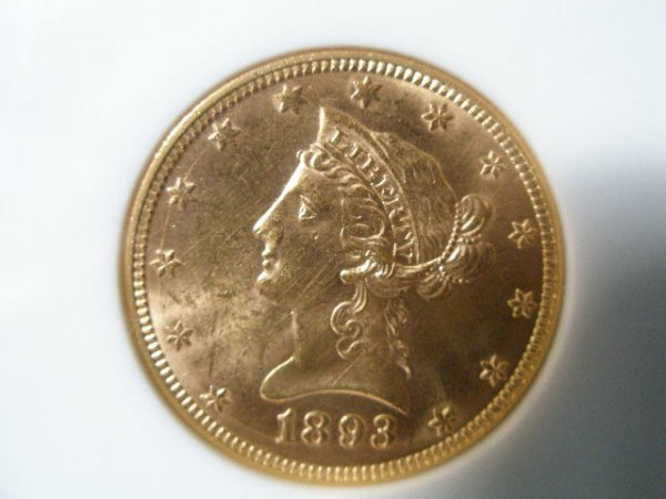 1015: 1893 NGC MS 60 $10 Gold Liberty Head Eagle,