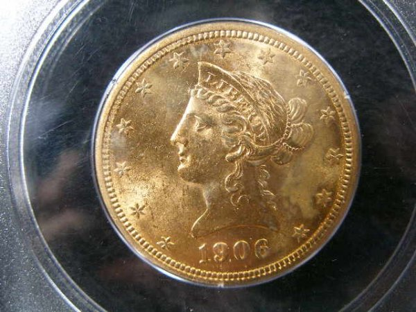 1016: 1906-D PCGS MS 62 $10 Gold Liberty Head Eagle,