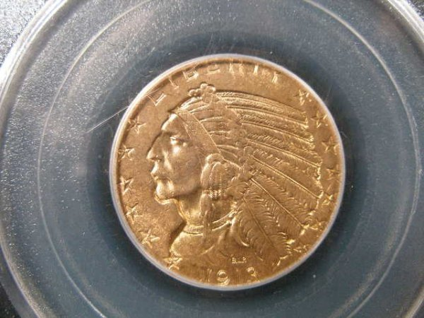 1017: 1913 PCGS MS 62 $5 Gold Indian Head Half Eagle,