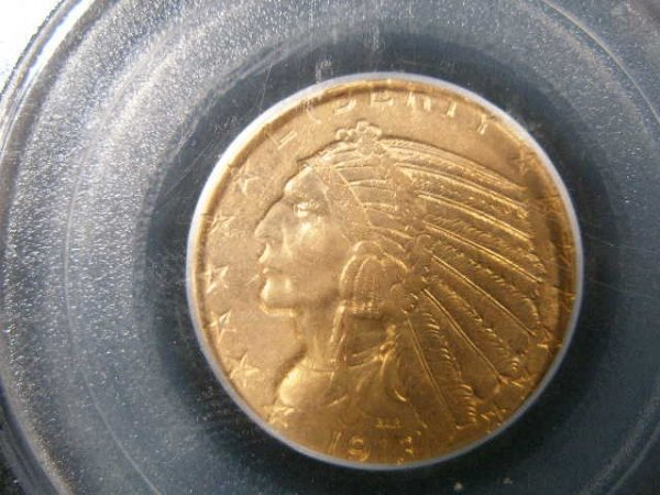 1018: 1913 PCGS MS 62 $5 Gold Indian Head Half Eagle,