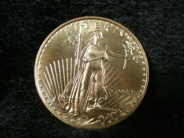 1021: 1993 Liberty BU $25 1/2 Ounce Gold Eagle,
