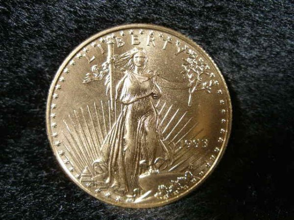 1022: 1993 Liberty BU $25 1/2 Ounce Gold Eagle,