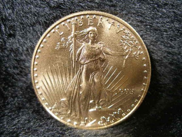 1023: 1993 Liberty BU $25 1/2 Ounce Gold Eagle,