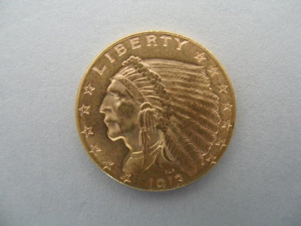 1074: 1913 $2.50 Gold Indian Head Quarter Eagle,