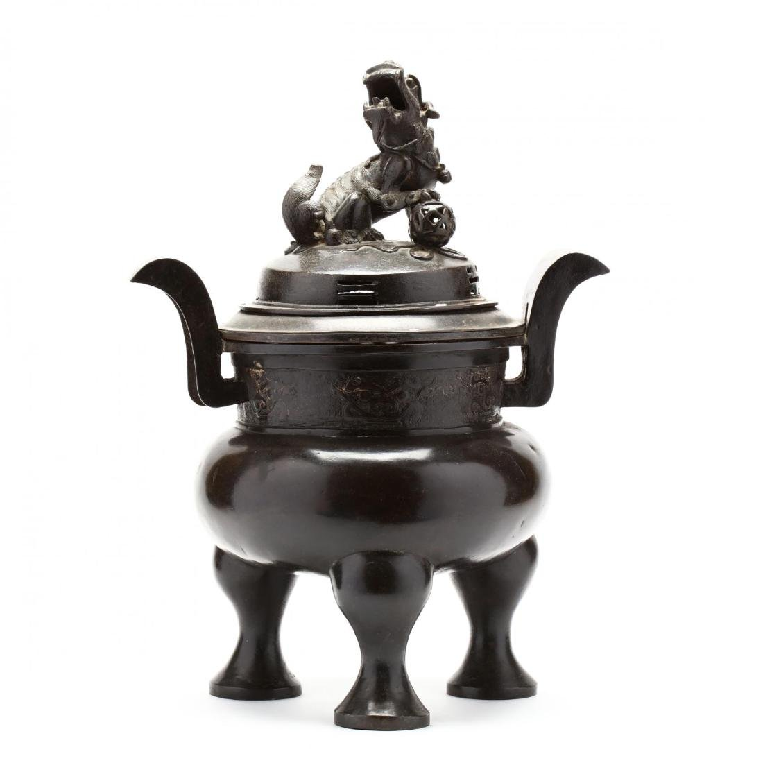 A Large Heavy Bronze Chinese Covered Censer
