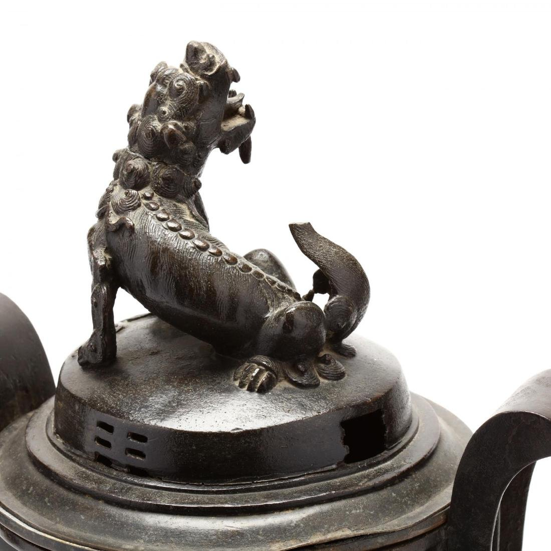 A Large Heavy Bronze Chinese Covered Censer - 3