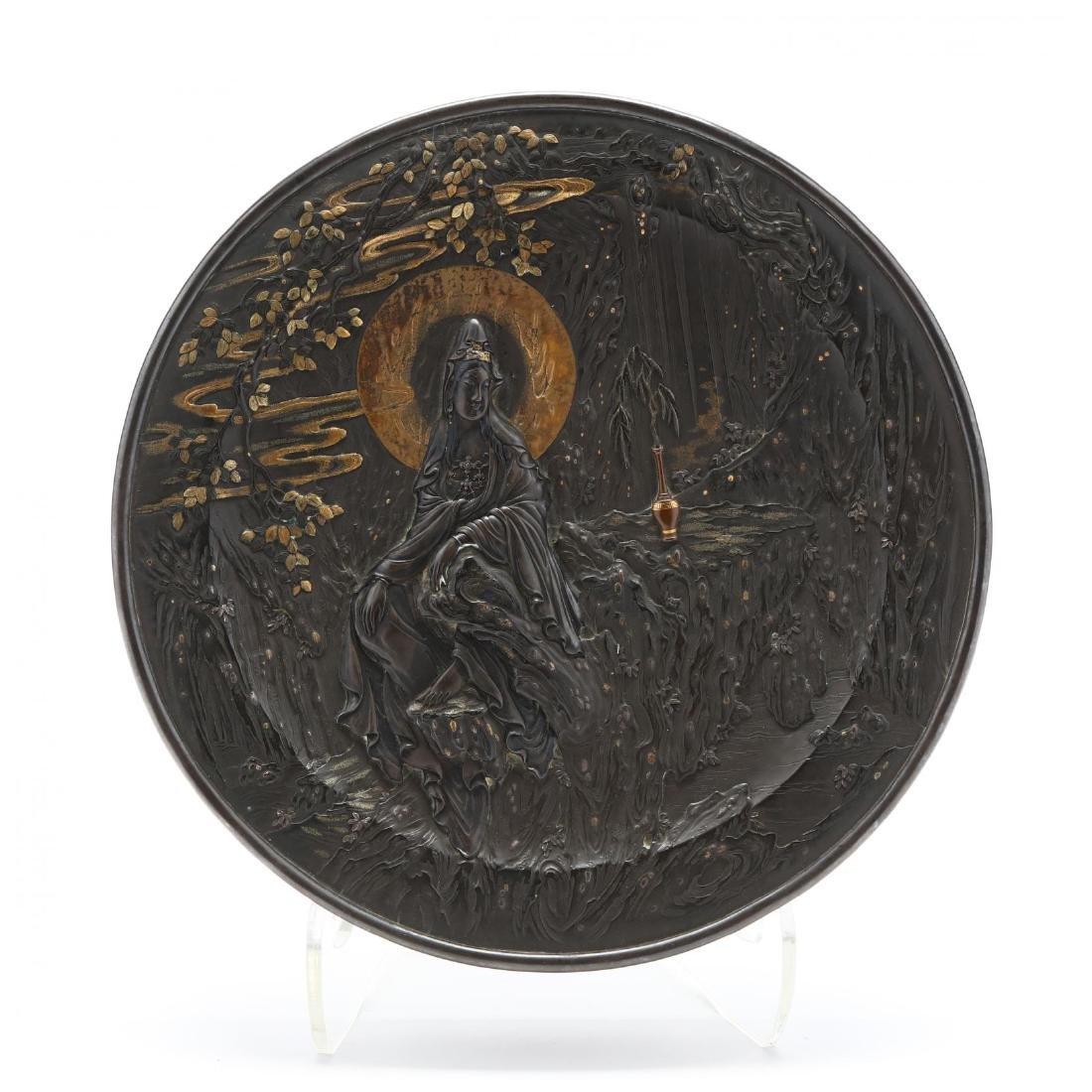 A Bronze and Mixed Metals Circular Box with Bodhisattva