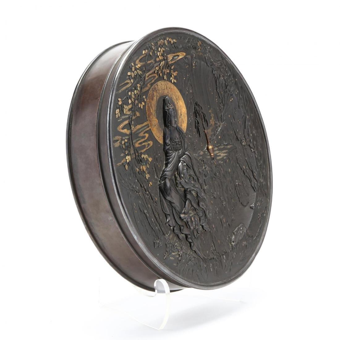 A Bronze and Mixed Metals Circular Box with Bodhisattva - 2
