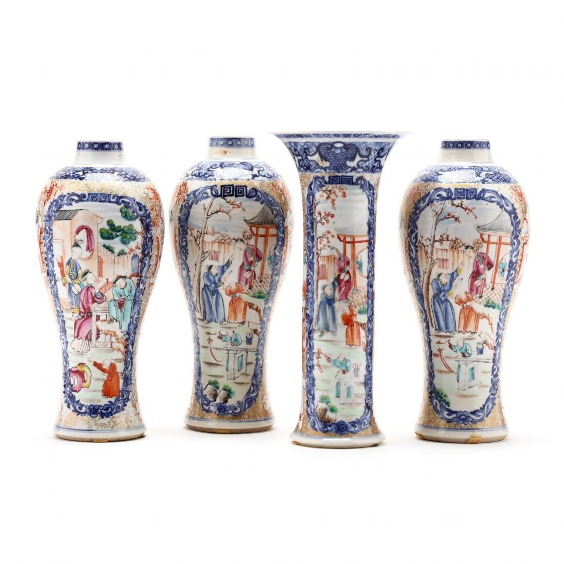 A Chinese Porcelain Mandarin Garniture Set